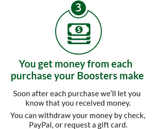 You get money from each purchase a Booster makes